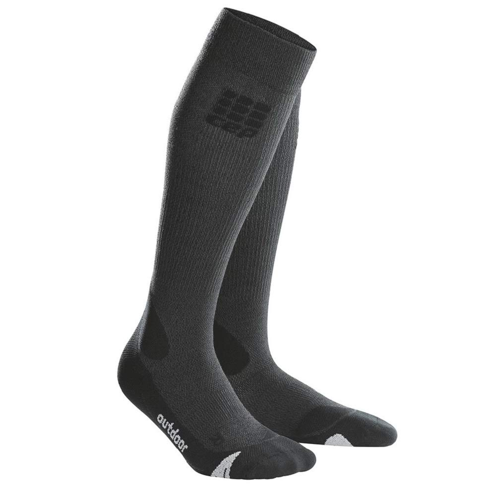 CEP Womens Long Compression Wool Socks Outdoor Merino (Gray/Black) 2 by CEP