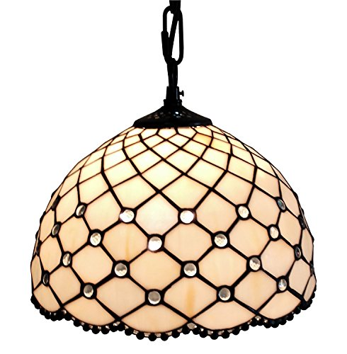 Amora Lighting AM119HL12 Jewel Tiffany Style Hanging Lamp 12 in (Swag Tiffany Lamp)