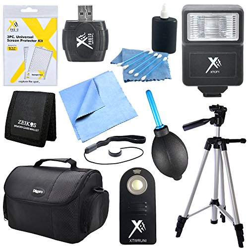 Special 11 Piece Accessory Kit for SLR Cameras includes: Camera Bag, 57'' Full Size Tripod, Bounce Zoom Slave Flash, Shutter Release Remote, Card Reader, Screen Protectors, Memory Card Wallet, Dust Removal Blower, 3pc. Lens Cleaning Kit & More by Beach Camera