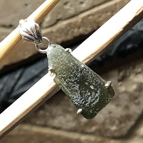 Natural Green Czech Republic Moldavite 925 Solid Sterling Silver Healing Stone Pendant 27mm Long ()