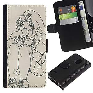 Paccase / Billetera de Cuero Caso del tirón Titular de la tarjeta Carcasa Funda para - artist drawing sketch painting woman - Samsung Galaxy S5 V SM-G900