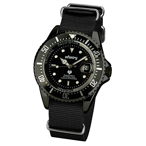 INFANTRY Night Vision Mens Analog Quartz Wrist Watch Date Display with Black Nato Nylon Watchband.