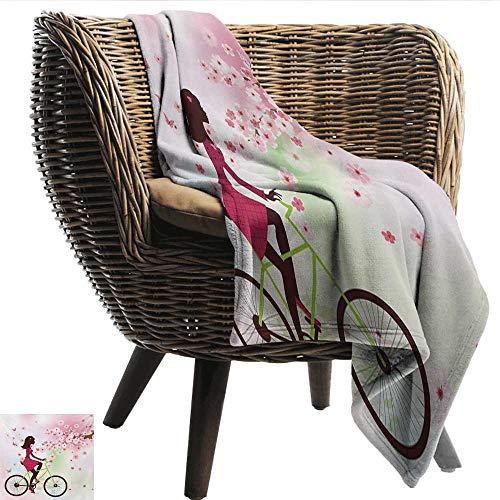 - EwaskyOnline Teen Girls Baby Blanket Girl on Bike Passing by Cherry Trees Blooms Spring Nature Seasonal Illustration Super Soft Cozy 72
