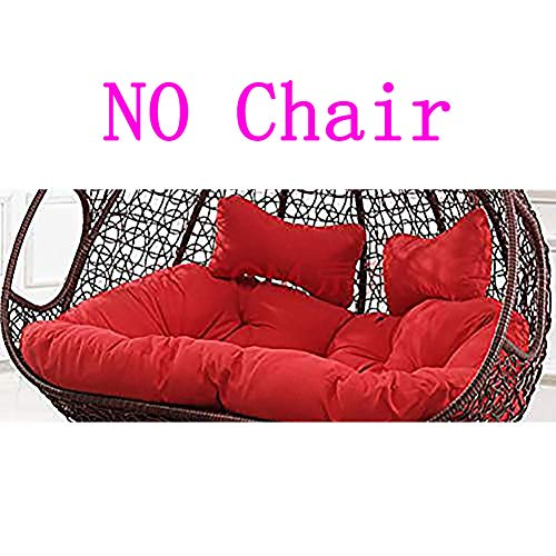 YEARLY Egg Nest Shaped Cushions, Basket Cushion Wicker Rattan Swing Pads Hanging Hammock 2 Persons Seater Zipper Washable no Chairs-red 140x110cm(55x43inch) (Egg Rattan Chair)
