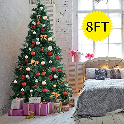 Goplus Artificial Christmas Tree Xmas Pine Tree with Solid Metal Legs Perfect for Indoor and Outdoor Holiday Decoration (8 feet, Green)
