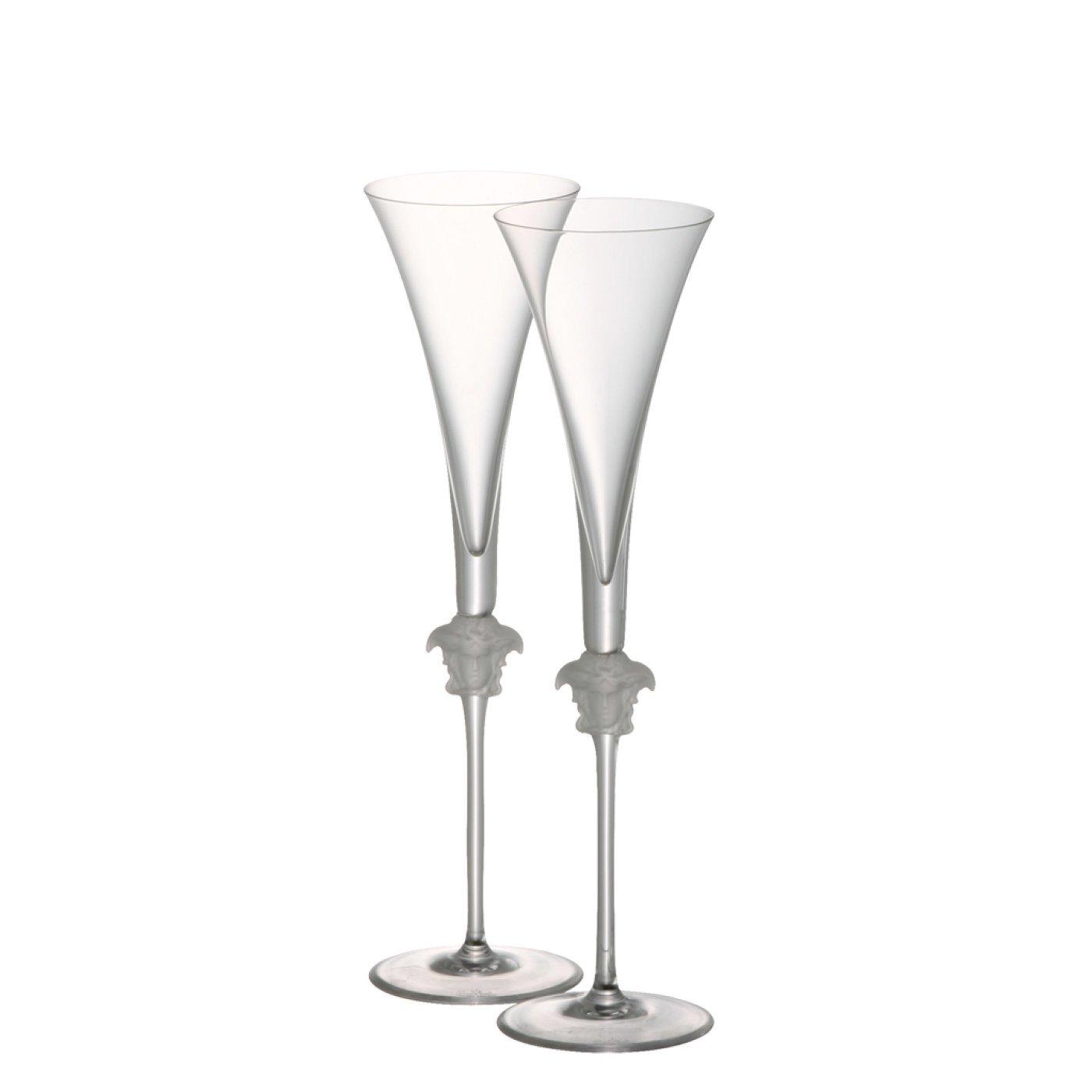 Rosenthal meets Versace Champagne Flutes Medusa Lumiere – Elegant Crystal Stemware Designed by Gianni Versace – Set of 2 Glasses