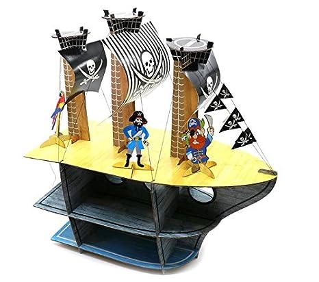 Barco pirata cumpleaños infantil 3 x Tier taza soporte para tartas y decoración de mesa con figuras de piratas: Amazon.es: Hogar