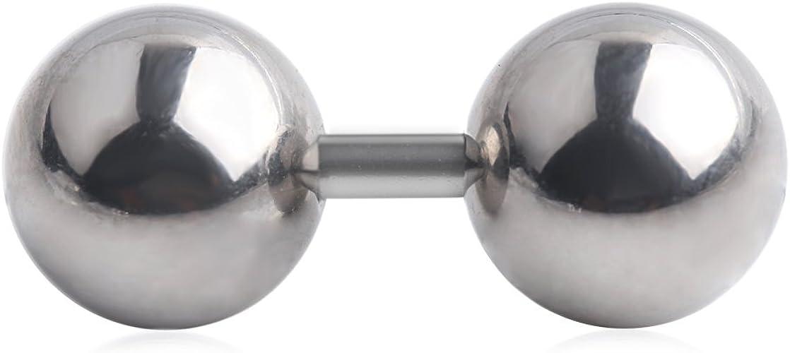 "Barbell Tongue Nipple Ring Heavy 2 Gauge 5//8/"" Internal Thread 10mm Balls Steel"