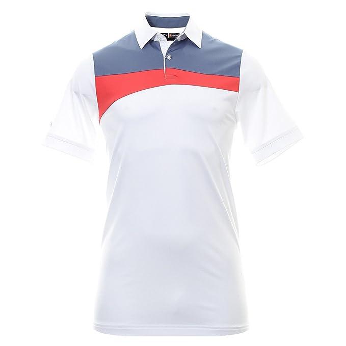 Callaway Asymmetric Polo de Golf, Hombre, Blanco/Azul/Rojo, M ...