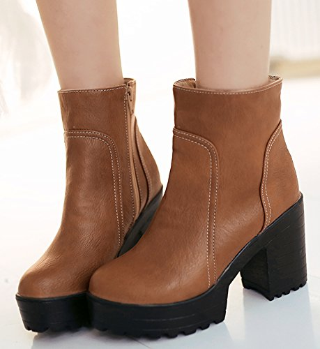 Heel Chunky Brown Up Fall Zip Ankle Booties Platform Womens Idifu Martin XSq1YY