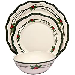 Melange 12-Piece 100% Melamine Dinnerware Set (Christmas Berry Collection ) | Shatter-Proof and Chip-Resistant Melamine Plates and Bowls | Dinner Plate, Salad Plate & Soup Bowl (4 Each)
