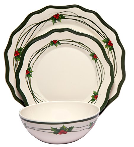 Melange 12-Piece 100% Melamine Dinnerware Set (Christmas Berry Collection ) | Shatter-Proof and Chip-Resistant Melamine Plates and Bowls | Dinner Plate ...  sc 1 st  Plate Dish. & Gibson Christmas Plates. Gibson Home Tree Trimming 20-Piece Ceramic ...