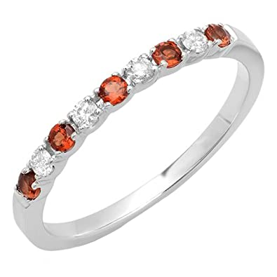 14k white gold round white diamond red garnet ladies anniversary wedding stackable ring size