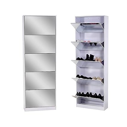 Organizedlife White Wooden Shoe Cabinet Mirror Shoe Organizer with with 5 Racks  sc 1 st  Amazon.com & Amazon.com - Organizedlife White Wooden Shoe Cabinet Mirror Shoe ...