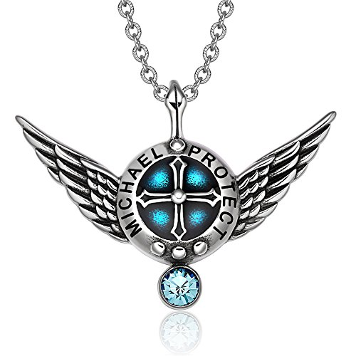 Archangel Michael Angel Wings Protection Shield Magic Powers Sky Blue Crystal Pendant 22 inch Necklace