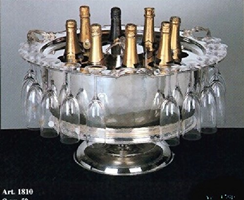 Rounf Champagne Cooler turnable dish 8 bottles 18 Glasses #1810