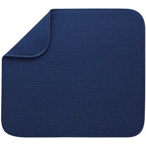 S&T INC. Absorbent, Reversible Microfiber Dish Drying Mat for Kitchen, 16 Inch x 18 Inch, Navy