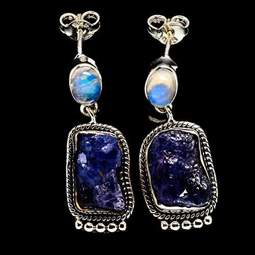 Ana Silver Co Rough Tanzanite, Rainbow Moonstone 925 Sterling Silver Earrings 1 1/4