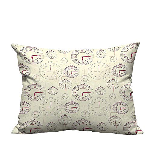 - YouXianHome Lovely Cushion Covers Vintage Watches with Roman Digits Wallpaper Pattern Decorative Illustration Cream Maroon Resists Stains(Double-Sided Printing) 20x35.5 inch