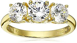 18k Yellow Gold Plated Sterling Silver Round Cubic Zirconia Yesterday, Today, Tomorrow 3-Stone Ring, (3.24 cttw), Size 6