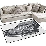 Cars,Carpet,Hand Drawn Vintage Vehicle with Detailed Front Part Hood Lamps Rear View Mirror,Non Slip Rugs,Grey Blue Grey Size:36''x48''