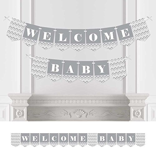 Big Dot of Happiness Chevron Gray - Baby Shower Bunting Banner - Gray Party Decorations - Welcome Baby