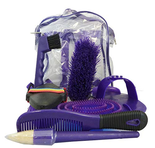 AJ Tack Wholesale Horse Grooming Kit Set 8 Pieces Barn Stable Supply Brushes Comb Hoof Pick Purple