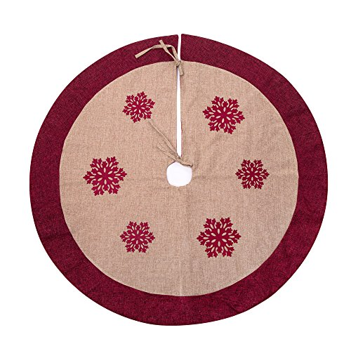 "SANNO 42"" Christmas Tree Skirt,Snowflakes Burlap Rustic Xmas Tree Decorations Skirts Holiday Ornaments, Beige with Red Edge"