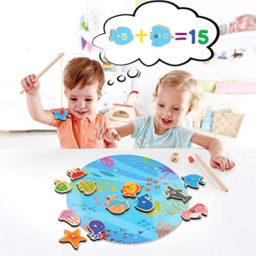 (16 Pieces Magnetic Wooden Kids Fishing Game for 2 3 4 5 6 Years Old Boys Girls, Fishing Toy for Kids Toddlers, Magnet Fish Catching Counting Travel Games Toy Set with 2 Rods and Puzzle Game Board)