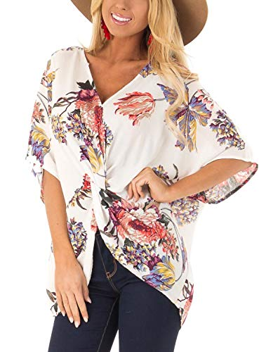 Sousuoty Batwing Sleeve Tops for Women Bohemian Deep V Neck T Shirts White 2XL