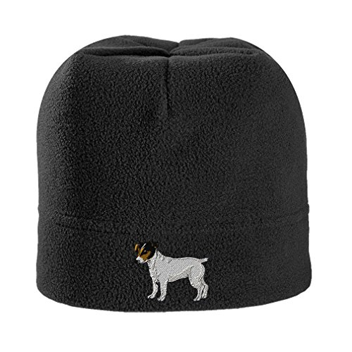 Jack Russell Terrier Dog #3 Embroidered Unisex Adult Polyester/Spandex Stretch Fleece Beanie Winter Hat - Black, One Size