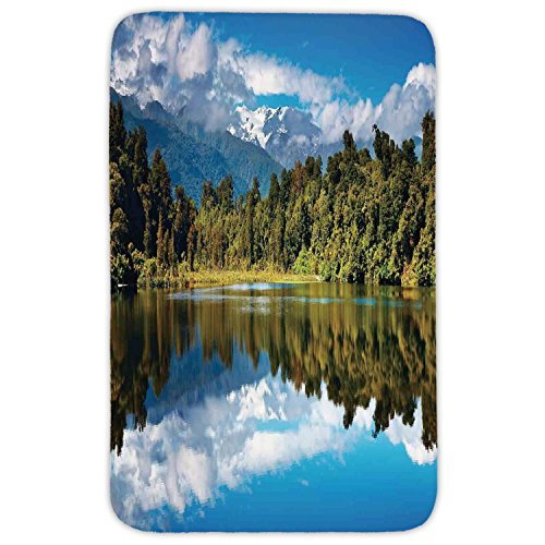 Rectangular Area Rug Mat Rug,Lake House Decor,Mirror Reflection on Lake by the Forest with Cloudy Sky in Southern Alps,Green Blue White,Home Decor Mat with Non Slip Backing by iPrint
