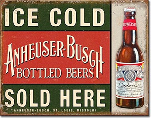 Ice Cold Anheuser Busch Bottled Beers Sold Here Distressed Look Tin Collectible Sign Gift