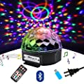 DJ Lights, 9 Color LED Bluetooth Stage Lights DJ Stage Lighting Rotating Crystal Magic Ball Light Sound Activated Light with Remote Control MP3 Play and USB for Disco Xmas KTV club Pub Show