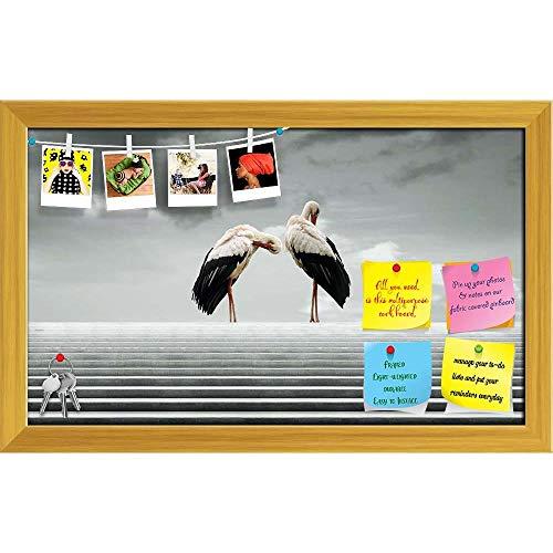 Artzfolio Two Beautiful Waterfowl Printed Bulletin Board Notice Pin Board   Golden Frame 19.4 X 12Inch