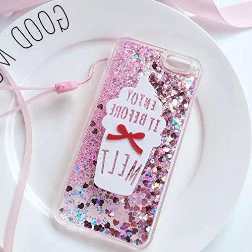 Liquid case for iPhone 6/6 Plus/iPhone 7/7 Plus Print Flowing Liquid Floating Luxury Bling Glitter Sparkle Stars Transparent Plastic Case (Ice Cream melt, iPhone 6/6s (4.7 inch))