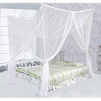 Just Relax Four Corner Post Elegant Mosquito Net Bed Canopy Set White Full/ & Amazon.com: Just Relax Four Corner Post Elegant Mosquito Net Bed ...