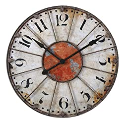 Uttermost 29 Ellsworth Clock Crackled Ivory With Rust Red Accent And Rustic Bronze Metal Details