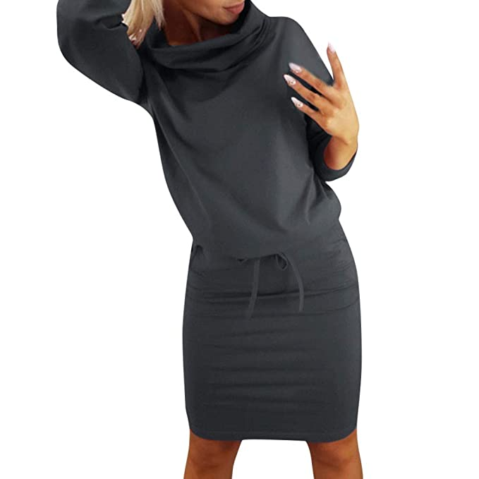 Luckycat Mujeres cálidos Bolsillos Cuello Alto Manga Larga con Cordones Mini Vestido Vestido de Fiesta (