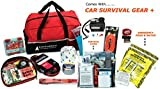 AutoClubHero Car Emergency Kit 185 Pieces with Car Survival Gear, Jumper Cables, First Aid Kit, Tow Rope, Roadside Assistance Tools, Multi-Tools, Emergency Food, Water, Blanket and More