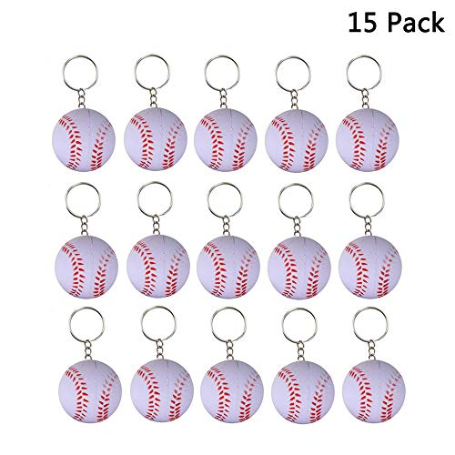 Finduat 15 Pack Baseball Keychains Mini Sports Balls Keyrings for Kids Party Favors & Carnival Prizes