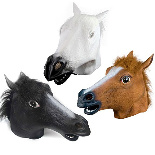 Kangkang@ Latex Horse Head Mask for Halloween Carnival Christmas Easter Cosplay Costume Party Decoration Maske Mascaras De Latex Realista (black) (Halloween Maske)