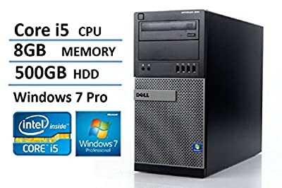 2016 Dell Optiplex 990 MiniTower (MT) High Performance Business Desktop Computer, Intel Quad Core i5 (up to 3.4GHz Processor), 8GB RAM, 500GB HDD, DVD, Windows 7 Professional (Certified Refurbished)