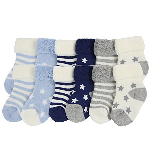 Baby Cotton Socks 6-18 Months, Unisex Boys Girls Toddler Cozy Comfy Walking Crew Warm Socks Gift for New Year,12 Pack 6-18 Months