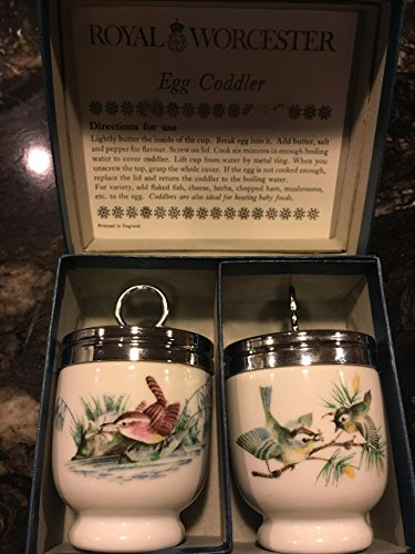 Royal Worcester Egg Coddler Pair Birds and Insect Pattern