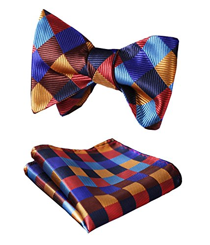 HISDERN Men's Plaid Jacquard Woven Self Bow Tie Set One Size Orange/Blue