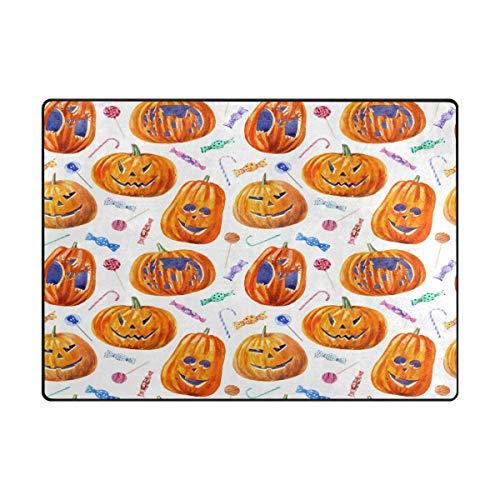 Area Rug Carpet Halloween Pumpkin Lollipop Candy Ultra Soft Non-Slip Runner Mat 4'x6', Indoor Outdoor Sponge Rugs Decor for Living Room Bedroom Kitchen