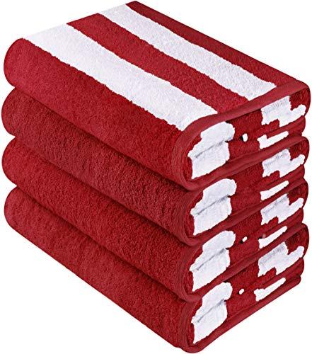 Utopia Towels Cabana Stripe Beach Towels (4 Pack, 30 x 60 Inches) - Large Pool Towels, -