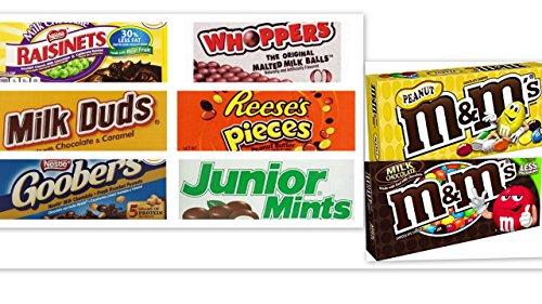 - Movie Theater Candy Bundle Pack of 8 includes Milk Duds, 5 oz + Whoppers, 5 oz, Junior Mints, 4 oz, Goobers, 3.5 oz, Reese's Pieces, 4 oz, Raisinets, 3.5 oz, M&M's Peanut, 3.1 oz, M&M's Plain, 3.4 oz