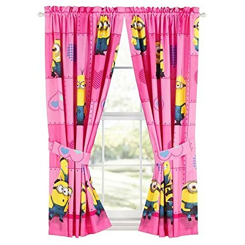 Despicable Me Minions Pink Curtains - Set of 2 w/ Tie Backs -